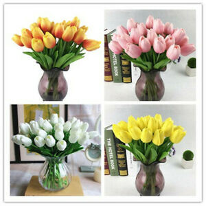 10X-Artificial-Tulip-Flowers-Fake-Bouquet-Real-Touch-Home-Wedding-Party-Decor