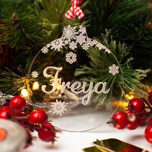 Christmas Tree Decorations Names.Details About Personalised Christmas Tree Decoration Engraved Name Bauble Xmas Baby Gift Clear