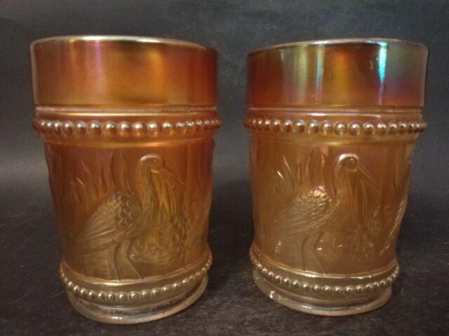 "2 Vintage Marigold Carnival Glass Dugan Tumblers "" Stork And Rushes"""