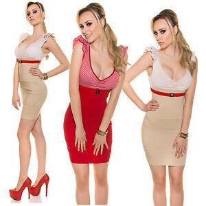 Sexy-Minikleid-Sommer-Business-Kleid-mit-Rueschen-und-Guertel-gestreift-S-M-L