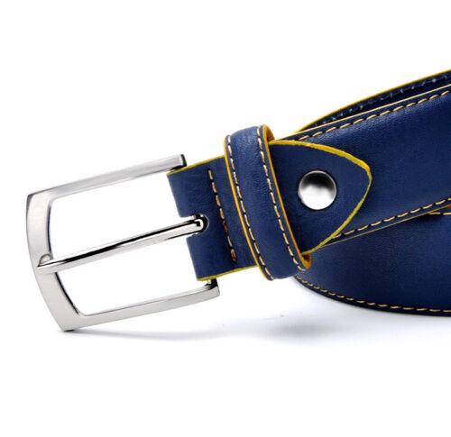 Man Leather Belt Italian Design Casual Men/'s Belts Blue Color High Quality