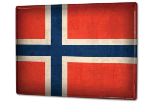 Blechschild XXL Weltenbummler  Norwegen Flagge