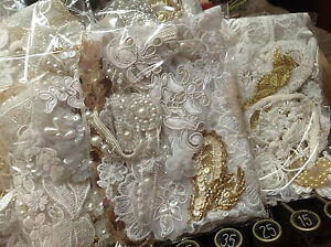Assorted-BEADS-APPLIQUES-PANEL-Fringe-pieces-Trim-WHITE-amp-Lil-039-Gold-1-grab-bag