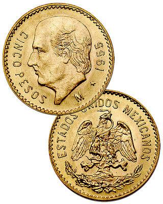 Random Date Mexico 5 Pesos Gold Coin - .1205 Troy Oz AGW SKU28850