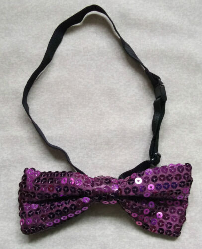 SPARKLING SEQUIN BOW TIE MENS DISCO FUNKY PARTY ADJUSTABLE SIZE PURPLE