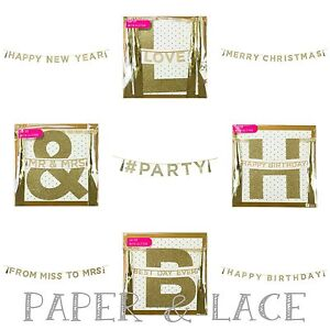Gold Glitter Garland Wedding Mr Mrs Merry Christmas New Year