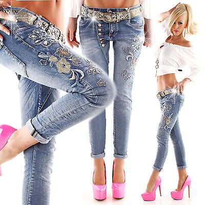 New Sexy Women Skinny Embroidery Blue Ladies Push Up Jeans Size 6 8 10 12 S M L