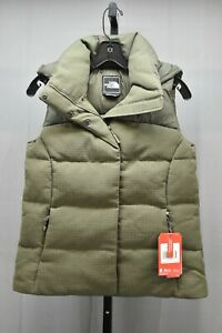 The-North-Face-Novelty-Nuptse-Goose-Down-Hooded-Vest-Women-039-s-Size-XS-Olive-NEW