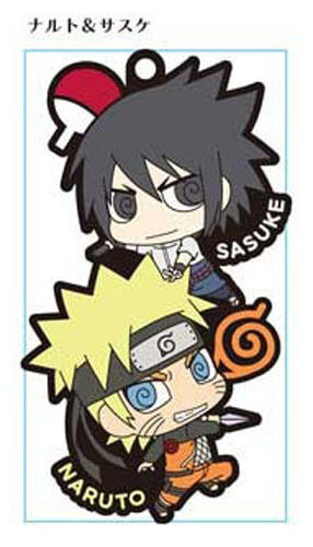 Naruto Sasuke and Naruto Pair Rubber Phone Strap NEW