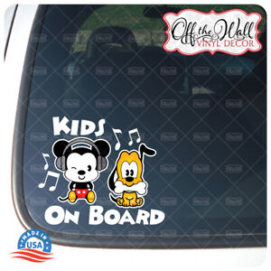 """Mickey and Pluto Cuties""""Kids On Board"""" Sign Vinyl Decal Sticker #PDCV"""