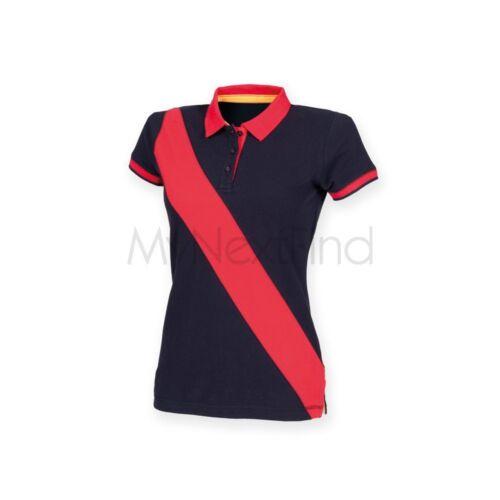 Front Row Womens Diagonal Stripe Pique Polo Shirt