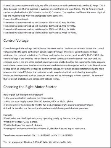 Elimia Combination Motor Starter 208-230V 37-50 Amp 15 HP Waterproof Dis CB