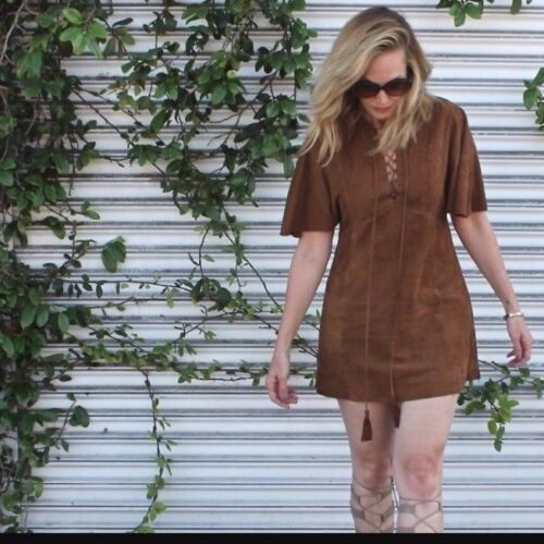 Rare S/_NWT ZARA Tobacco Braided Goat Leather Suede Lace Up Dress R.2915//051
