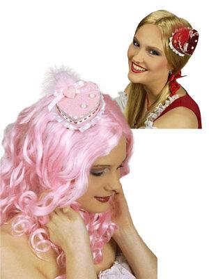Temperato Mini-hütchen Cuore Glitter Rosso Rosa Carnevale Accessori-mostra Il Titolo Originale