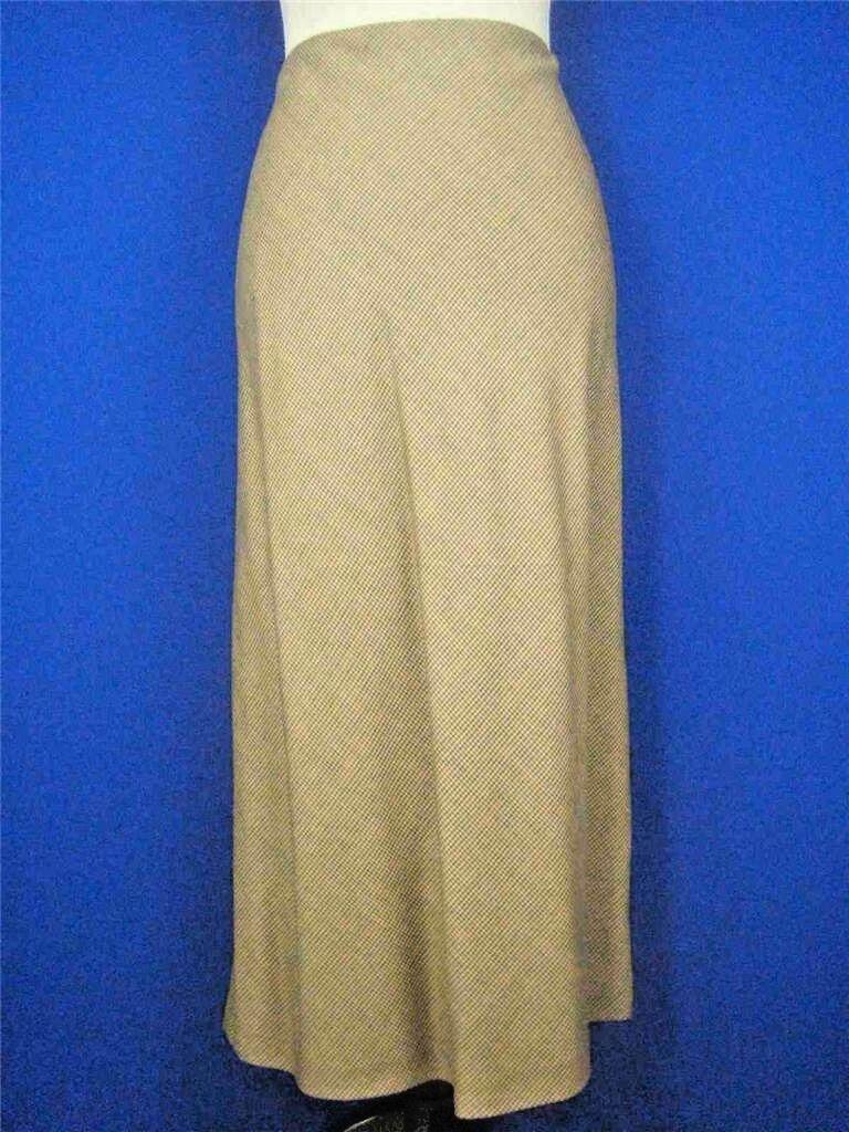 LAUREN RALPH LAUREN Beige Plaid Wool NEW Mid-Calf A-line Skirt 8