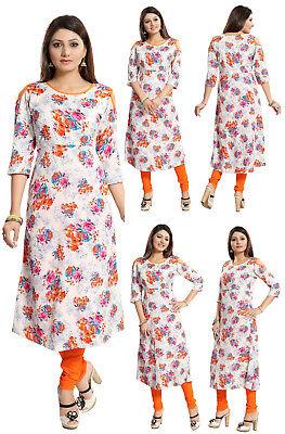 WOMEN FASHION INDIAN KURTA KURTI TUNIC TOP SHIRT SC2505 BLUE PARTY UK STOCK