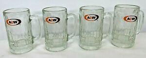 A & W Root Beer Mugs 1960's Set of 4 Orange Brown White Oval Bullseye 14 oz 2 lb