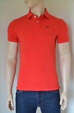 NEW Abercrombie & Fitch Cooper Kiln Cotton Pique A&F Logo Polo Shirt Red L