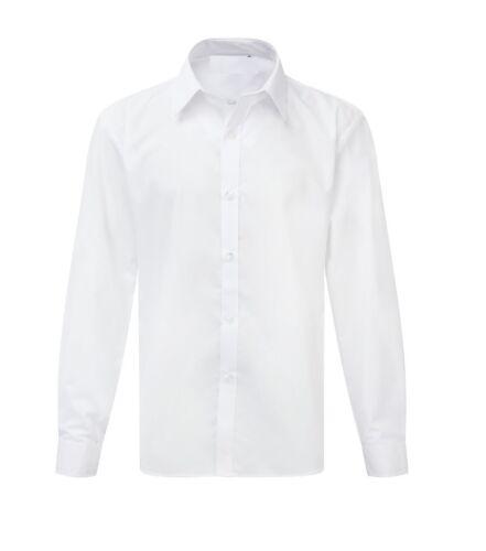 Boys School Shirt Uniform LONG Sleeve White Sky Blue Twin Pack Age 2-18 Years