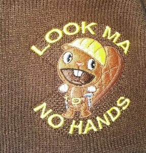"""Hot Topic BEAVER Beanie CAP """"Look Ma No Hands"""" Brown Hat OS Workman Knit Vintage"""
