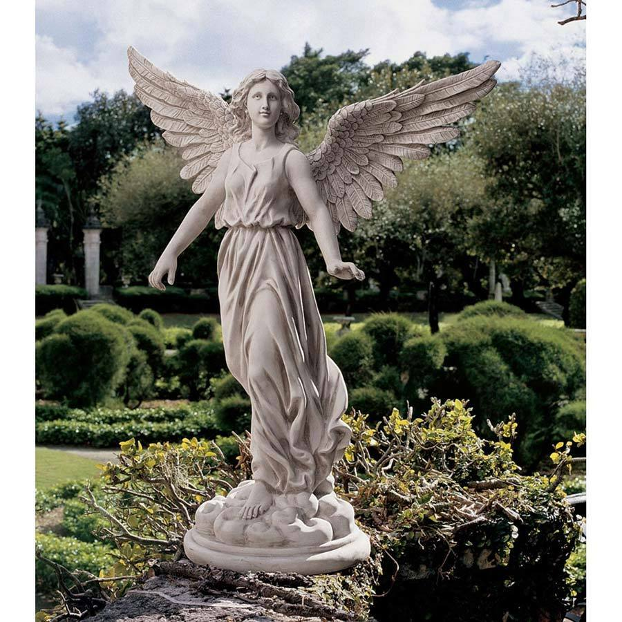 SWEET ANGEL GARDEN STATUE 22  TALL SPIRITUAL SCULPTURE HOME ART YARD PATIO DECOR