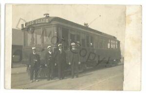 RPPC Streetcar, Trolley in LONG BEACH CA California Real Photo Postcard