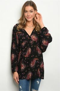 USA-New-Boho-Black-Floral-Paisley-Western-Long-Sleeve-Tunic-Top-Blouse-S-M-L