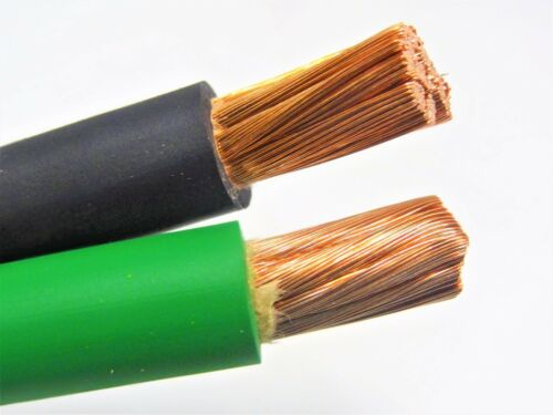 30/' 2//0 WELDING BATTERY CABLE 15/' BLACK 15/' GREEN 600V USA HEAVY DUTY COPPER