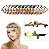 Lady Rose Flower&Leaves Headband Boho Festival Hippie Hair Band Vintage Elastic