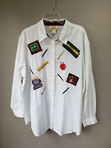 Teacher-Blouse-School-Attire-Size-22-W-White-Button-Down-Long-Sleeve