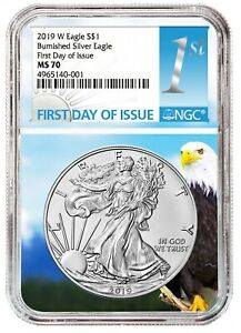 2019-W-Burnished-Silver-Eagle-NGC-MS70-First-Day-Issue-Eagle-Core