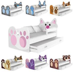babybett kinderbett autobett 160x80 mit schublade und matratze 8 tier motive ebay. Black Bedroom Furniture Sets. Home Design Ideas