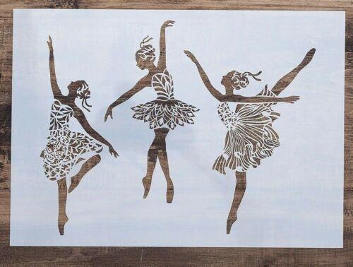 A4 gran Bailarina Ballet Danza Bailarinas Plástico Plantilla Reutilizable de Mylar