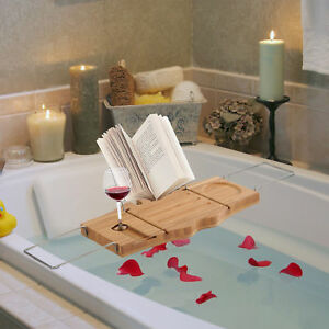 Adjustable Bathtub Caddy Shelf Bathroom Tray Wine Holder Book Rack Stand