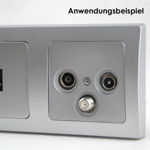 Wandsteckdose Anschlussdose Wanddose DELPHI Antennendose Silber TV+Radio+Sat