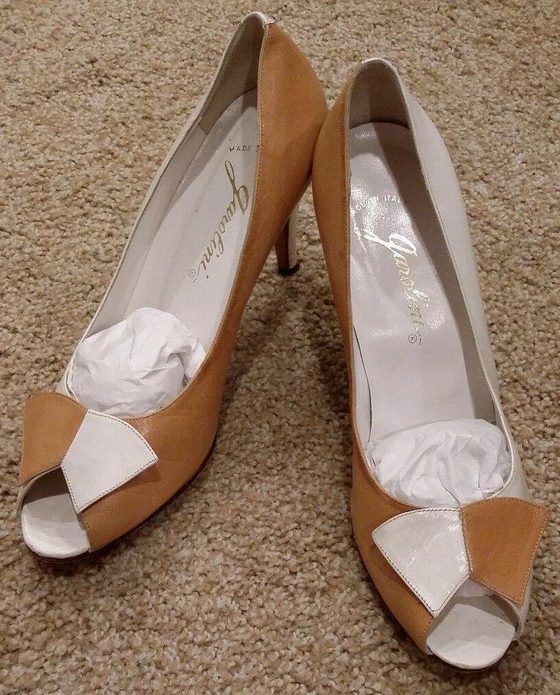 Garolini Women's Leather 2 Tone Heels Shoes Wht Br Career Pumps Shoes Heels Size 7.5M ITALY. 84c279
