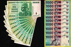 10-x-1-Billion-Zimbabwe-Dollars-10-x-1000-Indonesia-Rupiah-Banknotes-Mixed-Set