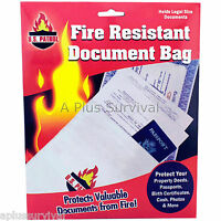 Lot Of 5 - Fire Resistant Document Bags For Money, Medical Records, Insurance
