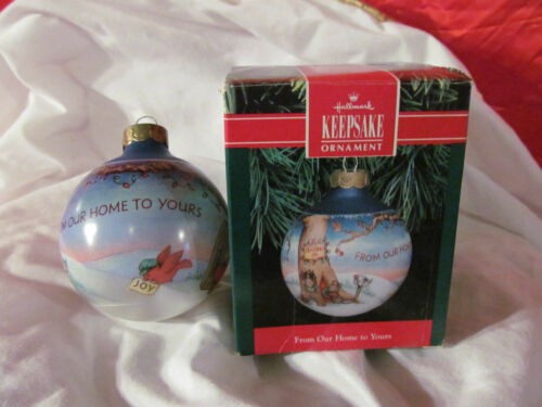 1991 From Our Home To Yours Glass Hallmark Christmas Ornament