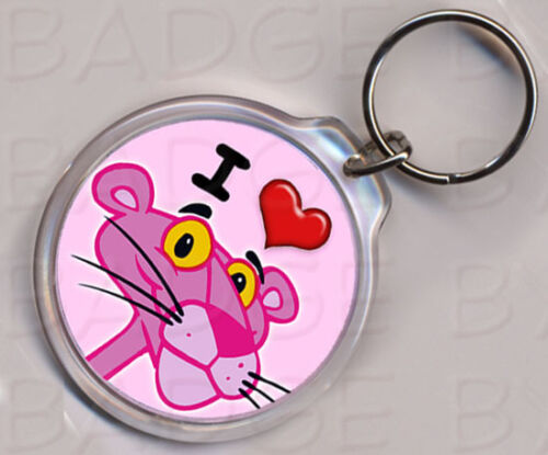 PINK PANTHER KEYRING double sided! HEART I LOVE
