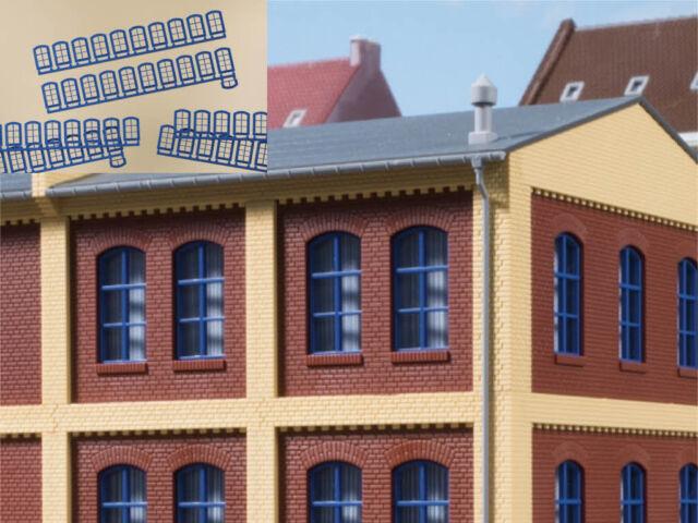 Auhagen 80217 Fenster blau 63 Stück BKS Baukastensystem Bausatz H0 Neu