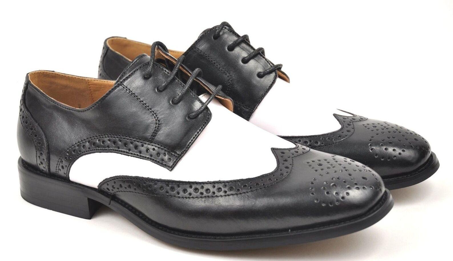 La Milano Tip Men's Black/White  Leather Wing Tip Milano Dress Shoes A590/F590 cba0d6
