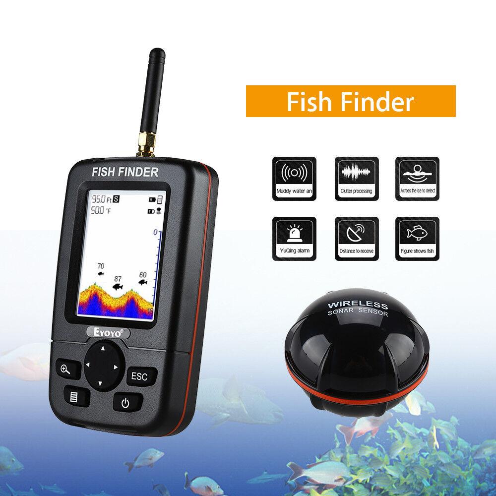 2,8 alarma LCD panDimensione Monitor 45M Fish Finder Wireless Sonar Sensor río océan