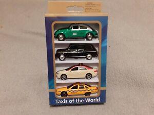 TAXI del MONDO Diecast quattro auto Set Messico LONDRA NEW YORK MODELLO MEDIO ORIENTE