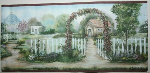 Romantic Cottage Garden Country House with arch fence Wallpaper Border