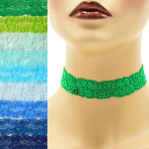 Stretch-Lace-Choker-1-1-25-inch-wide-custom-necklace-25-30-mm-elastic-Blue
