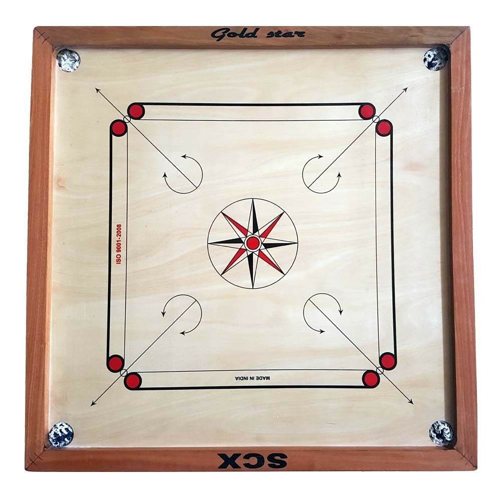 GAME gold gold gold STAR 4 MM FULL SIZE CARROM BOARD GAME CHU_0475 4c5a05