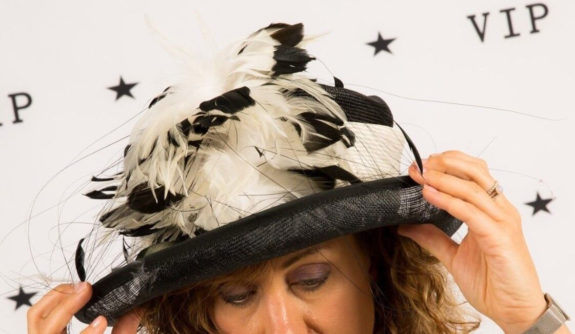 Black & white feathered formal hat exclusively SACS Wedding Races Christening