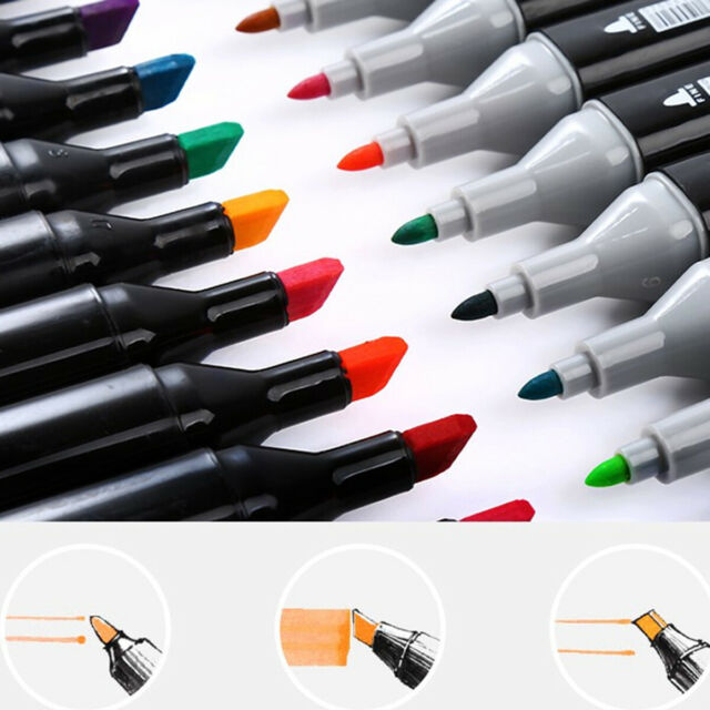 OLEEP 80 Color Art Sketch Twin Marker Pens Broad Fine Point Graphic