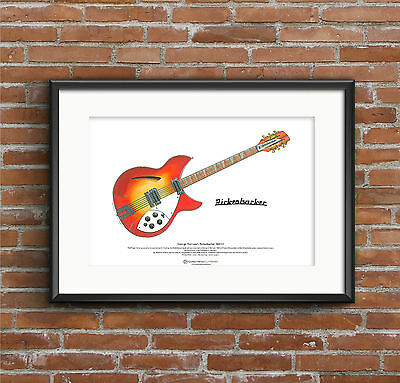 George Harrison's 1964 Rickenbacker 360/12 ART POSTER A3 size